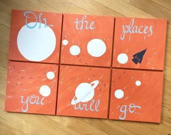 bold solar system. oh the places you will go. 6 - 12x12's. custom colors, hand painted original. orange, gray, white, galaxy, orange rocket