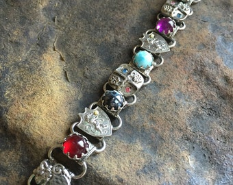 Vintage Multi Stone Link Bracelet Heraldry Marino