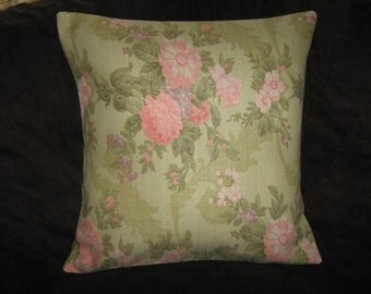 "VINTAGE LOOKING BARKCLOTH  Pillow Cover For a 16"" Insert"