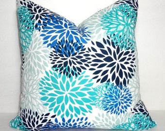 NEW OUTDOOR Pillow Mums Bloom Aqua Cobalt Black Grey Floral Pillow Cover Patio Porch Decor Size 18x18