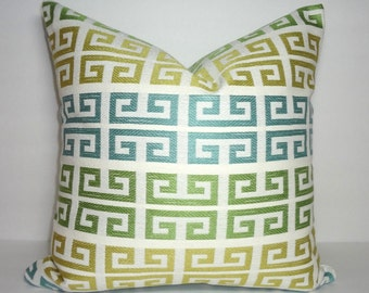 Blue Gold Green Ivory Greek Key Pillow Cover Decorative Throw Pillow Greek Key Geometric Pillow Cover  Size 18x18