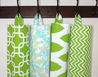 Plastic Bag Holder Grocery Bag Storage Kitchen Bag Storage Lime Ikat Chevron Floral Lime Geometric Storage Bag Holder