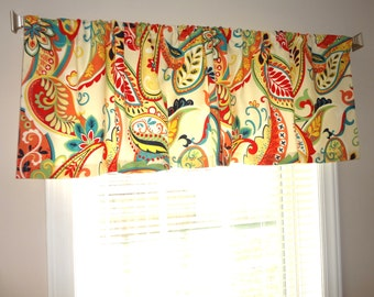 Curtain Valance Topper Window Treatment 52x15 Covington Whimsy Paisley Multi Color Valance