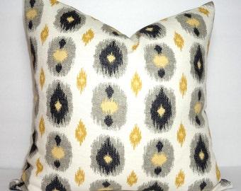 Gold Yellow Black Grey Ikat Print Pillow Cover Decorative Ikat Design Pillow Cover Size 18x18 20x20