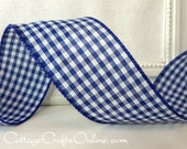 "Wired Ribbon, 2 1/2"", Navy White Gingham Check Plaid - THREE YARDS - Offray, Summer, Spring, July 4th, Nautical, Navy Blue Wire Edge Ribbon"