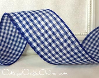 "Wired Ribbon, 2 1/2"", Navy White Gingham Check Plaid - TEN YARDS - Offray, Summer, Spring, July 4th, Nautical, Navy Blue Wire Edge Ribbon"