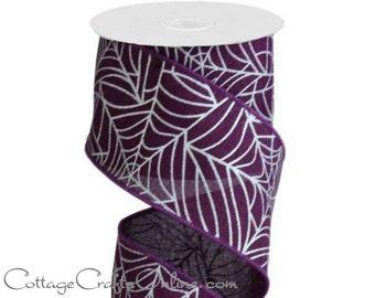 "Halloween Wired Ribbon, 2 1/2"" Spider Web Print - Ten Yard Roll - Silver Metallic Web Print on Purple Faux Linen Wire Edged Ribbon"