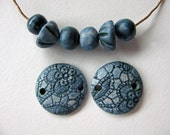Denim Blue Set Connectors & Round Beads