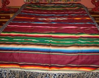 Vintage Mexican Serape Saltillo Textile Woven Blanket Rug 52 x 84 Excellent Condition Rare Beauty