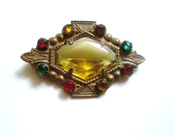 Antique Czech Brooch Citrine Colorful Rhinestones 1900s
