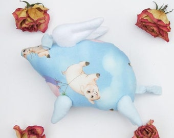 Flying pig softie stuffed animal toy plush soft pig toy blue stuffed animal cute toy gift for birthday get well and cheer up