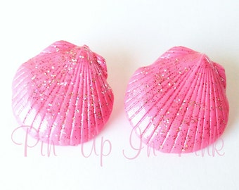 Hot Pink Seashell Earrings