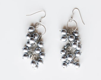 Cluster Pearls beadwork earrings - Large silver pearls Gift for her Earrings - Dangle silver pearl earrings