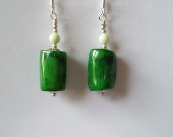 Green coral, freeform, sterling silver earring hooks