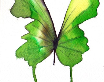 bright green butterfly original watercolour painting 7 x 5""