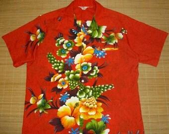 Vintage 60s Hookano Floral Hawaiian Aloha Surf Shirt - XXL - The Hana Shirt Co