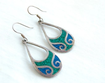 Mexican Dangle Earrings Boho Blue Turquoise Green Malachite Dangles Vintage Sterling Silver Boho Jewelry Taxco Mexico