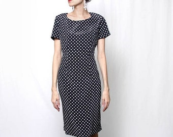 ON SALE Vintage 90s Black White Polka Dot Knee Length Dress