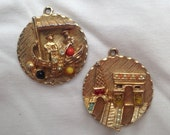 Vintage Travel Charms - Vintage Gondola Boat and Eiffel Tower Charms for Charm Bracelet / Jewelrly Supply
