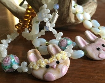 Easter BUNNY Necklace - Handmade Artisan Glass Lampwork Bead Bunny Rabbit and Vintage Czech Glass - Spring Jewelry