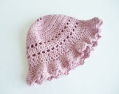 Order for Jan - Floppy sun hat - baby -age 2 years  in  soft organic cotton - crochet bonnet - dusky pink