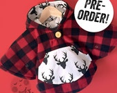 PRE-ORDER! Mini Fleece Cape Poncho (Lumberjack Plaid) || Baby Toddler || Car Seat Coat