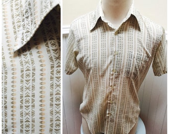 Vintage 1960s Short Sleeved Button Down Printed Men's Shirt -M/44