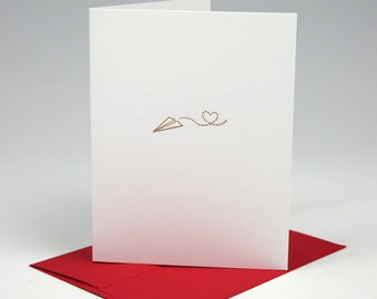Paper Plane Love Letterpress Card