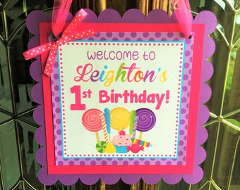 Candy Sweet Shop Birthday Party Personalized Welcome Door Sign - Candy Party Decorations - Candy Door Hanger - Sweet Shop Door Hanger