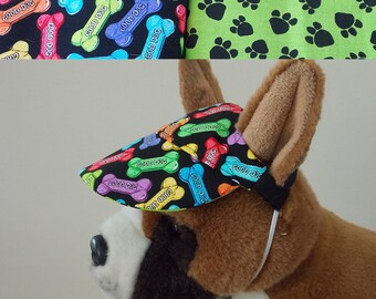 Dog visor, reversible (two fabrics), comfortable and colorful. V12   Can be personalized.