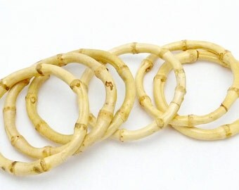 Vintage Asian Natural Bamboo Bangle Bracelets Set of 6 22379
