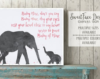 Watercolor Dumbo canvas art sign, Baby Mine song art for baby room, nursery decor for boy or girl. Watercolor elephants. Pick your own color