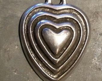 Grooved Silver Heart