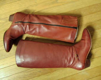 Boots Tall Leather cognac brown high equestrian riding boots vintage 70s strap stacked heel distressed women 8 M Ipanema Brazil