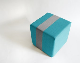 Outdoor Dark Aqua Pouf/Floor Pouf/Ottoman/Stripe Pouf/Grey Stripe/Urban/ Modern/Floor Pouf/Foot Stool/Nursery Pouf/ Zigzag Studio Design