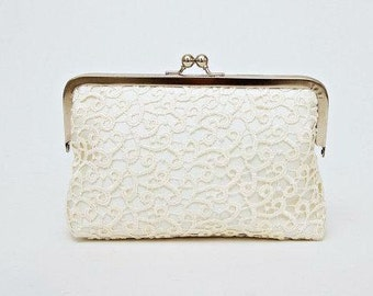 Sale -Bridal clutch,bridesmaid clutches ,Frame purse clutch with ivory lace ,bridesmaid gift , WITH lining  COLOR OPTION