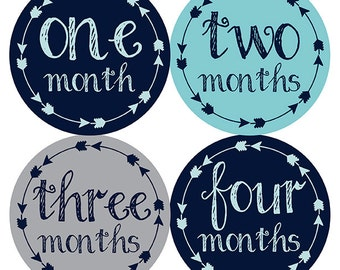FREE GIFT, Tribal Arrow Month Stickers, Baby Month Stickers, Baby Boy, Navy, Aqua, Gray, Grey, Monthly Baby Stickers, Baby Boy Month Sticker