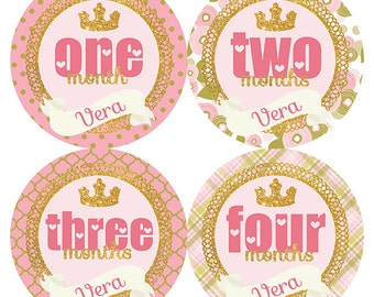 FREE GIFT, Baby Girl Month Stickers, Princess Crown, Gold Glitter, Pink, Hearts, Monthly Baby, Stickers Girl, Baby Month Stickers Girl, Name