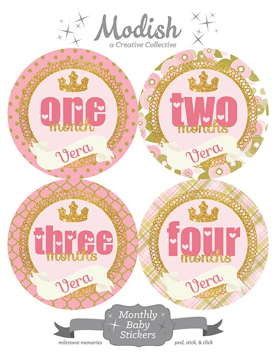 18 Month Stickers: FREE GIFT, Baby Girl Month Stickers, Princess Crown, Gold