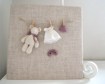Nursery frame. Nursery decor. Baby gift. Baby shower. Crochet picture. Newborn frame. Baby picture. Nursery picture.