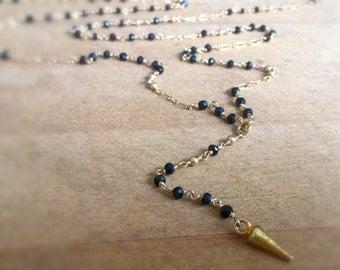 Black Onyx Necklace - Long Gold - Rosary Style - Spike Pendant - Gemstone - Fine Jewelry - Wrap Jewellery
