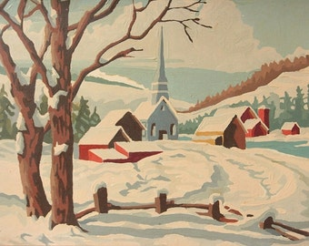 Paint by Number, winter landscape church, framed vintage painting