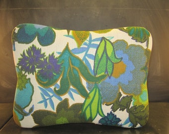 Vintage Cloth Covered Footstool-Foot Rest-Mid Century-Wooden Legs-Floral Pattern