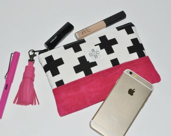 Waxed Canvas Clutch - Swiss Cross Zip Pouch - Black White Hot Pink Makeup Case - Accessory Pouch - Leather Tassel - Gift for Her