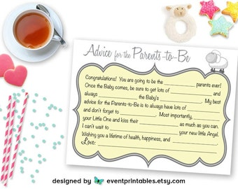 Printable Baby Shower Mad Libs, Advice Cards Parents-to-Be, Yellow Baby Shower Game, Baby Libs, Baby Sheep DIGITAL FILE by Event Printables