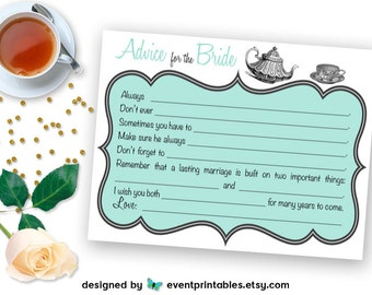 Printable Bridal Shower Mad Libs, Tea Party Advice for the Bride Cards, Robin's Egg Blue, Mint Shower Game DIGITAL FILE by Event Printables