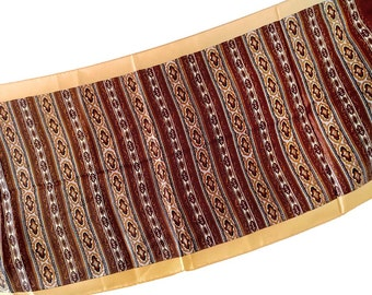 Peach & Brown Scarf Long Rectangular Oblong Scarf Scroll Design 44 x 15 100 Acetate Made in Japan WPL 6119 Brown Stripes Earth Tone Neutral