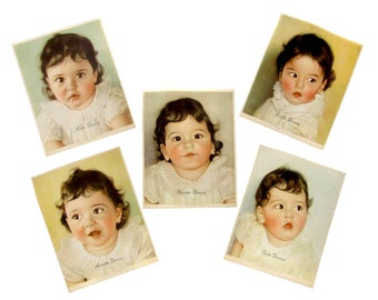 Dionne Quintuplets Hand Colored Prints by Photo World 1935 NEA Service Hand Tinted Baby Pictures Set of 5 Photos Quints Nursery