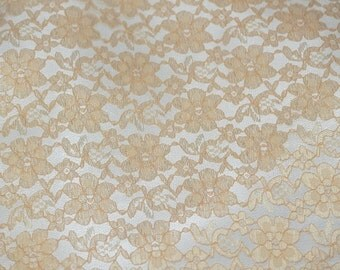 Gold rachelle lace flower mesh sheer polyester home decor by the yard