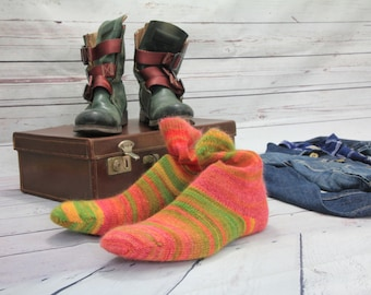 Knitted Wool socks - Hand Made -Green Yellow and Tangerine SILK and MOHAIR winter socks Hipster MENS socks. Large size.